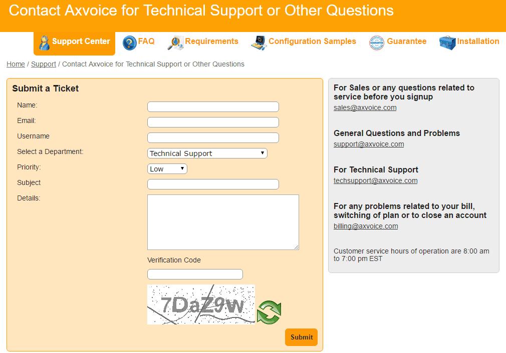 Submitting a Ticket via Axvoice
