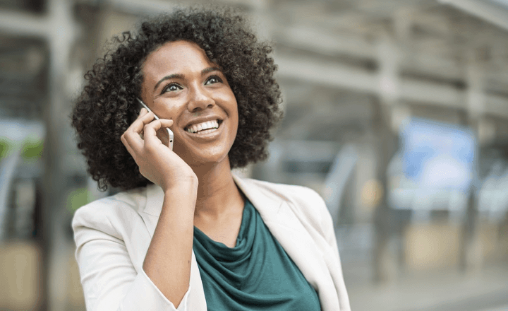 Business Woman Performing Voice Call