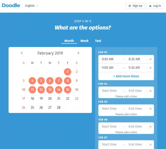 Selecting Dates in Doodle