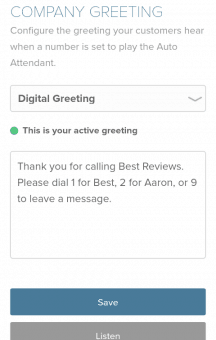 Setting up Greeting in the Mobile Version