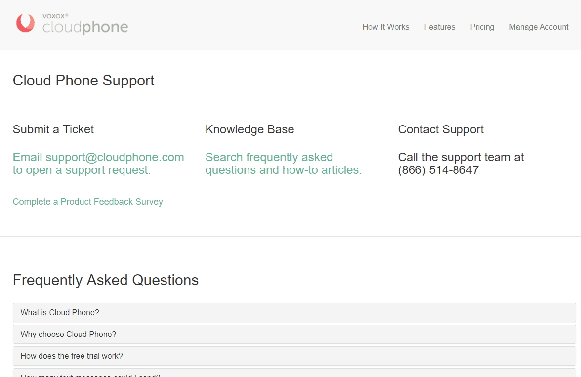Cloud Phone Support Page