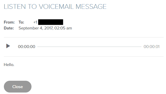 Voicemail Message in Cloud Phone
