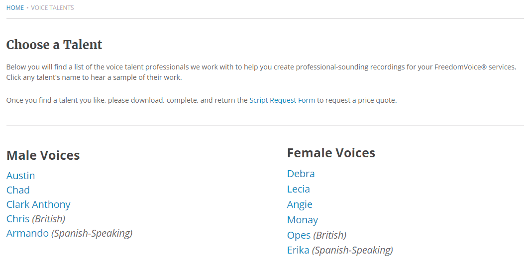 Voice Talents in FreedomVoice