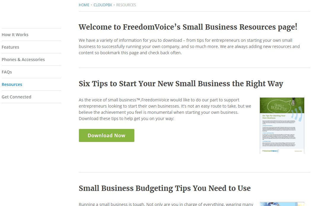 SMB Resources Page in FreedomVoice