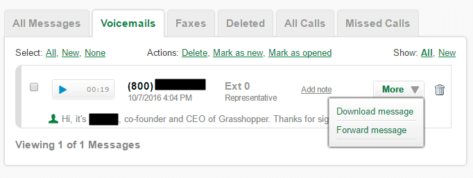 Voicemails Management in Grasshopper