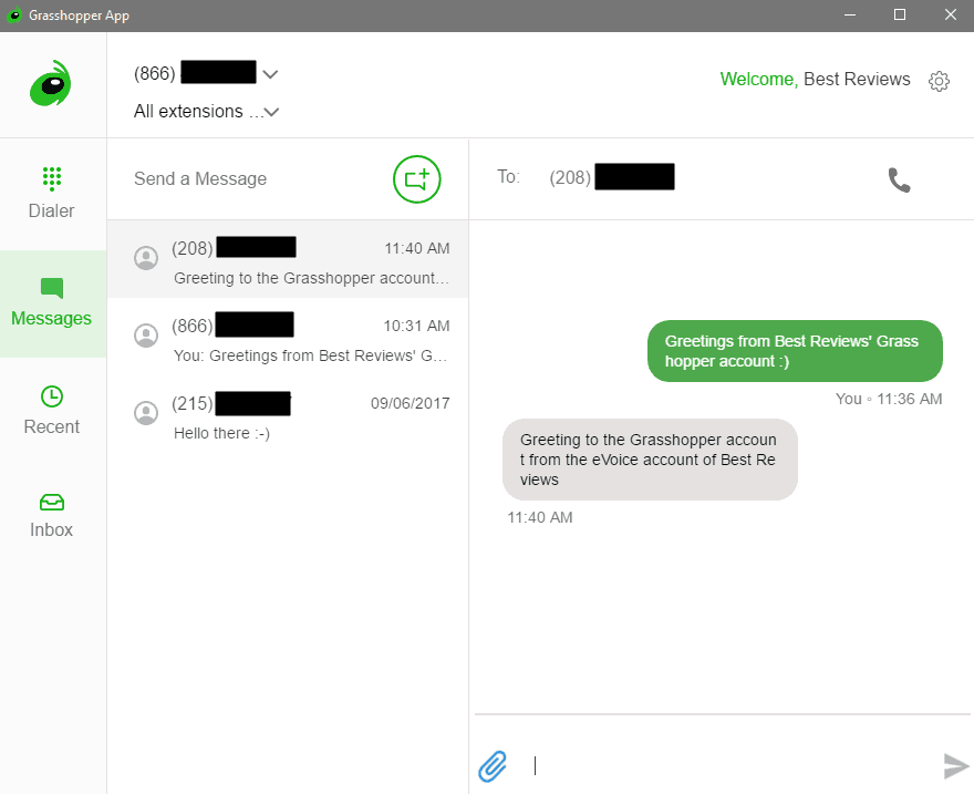 Business Texting From Grasshopper's Desktop App