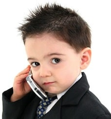 Kid on the phone using a VoIP