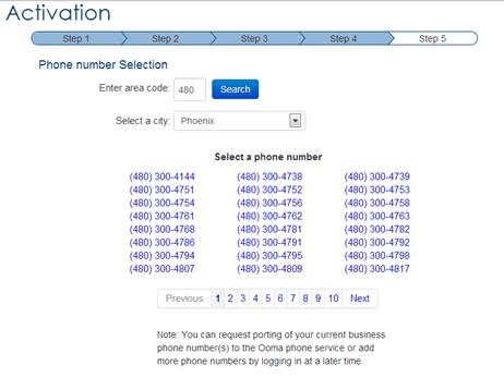 Phone Number Options at Ooma Office