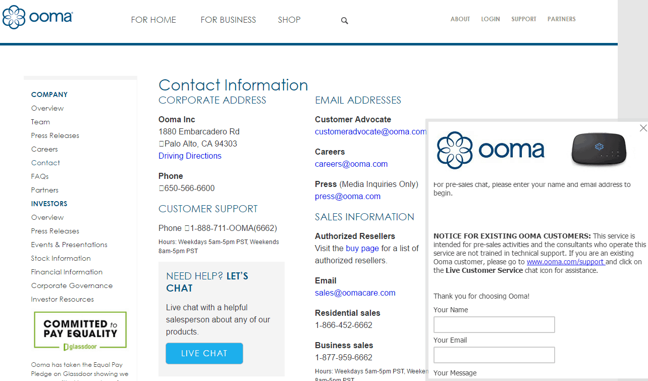 Regular Support Option at Ooma