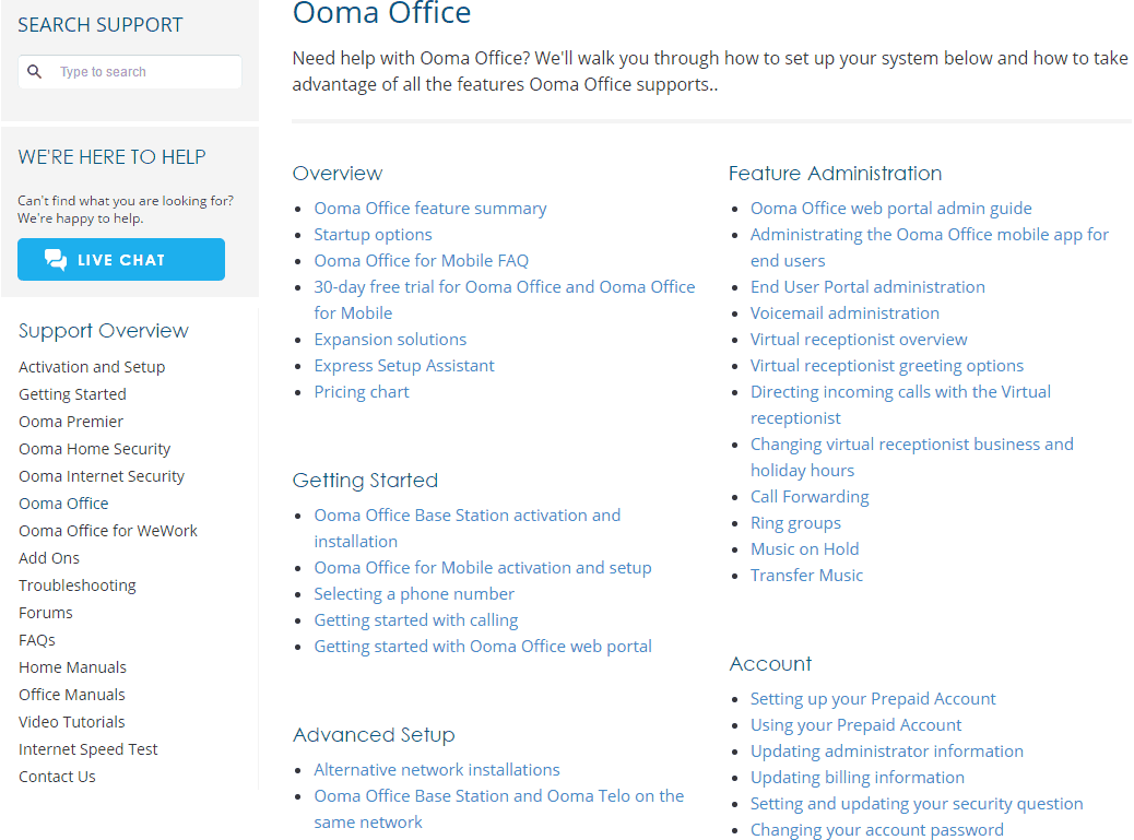 Support Page for Ooma Office