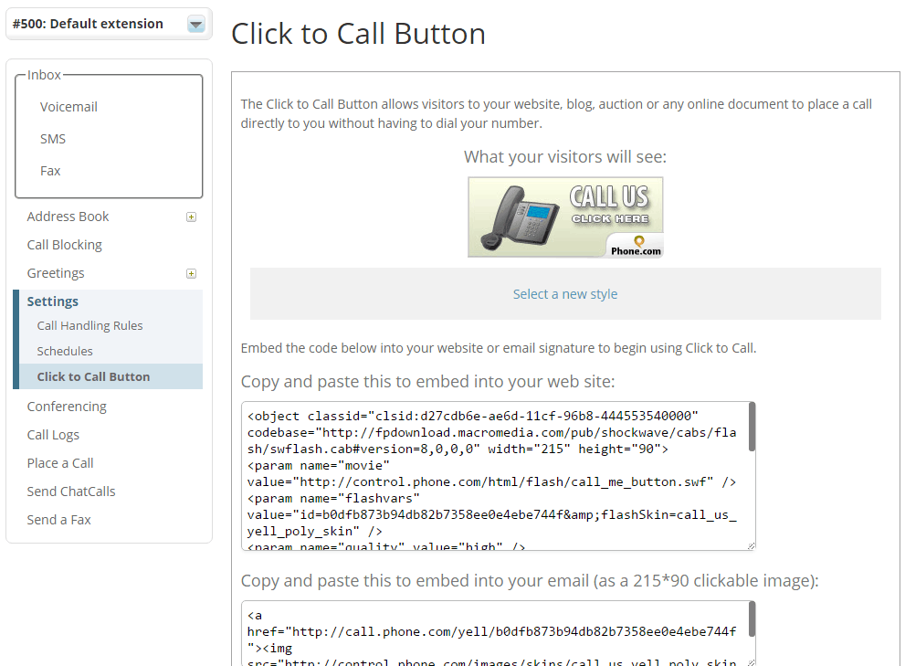 Click-to-Call Button Creator in Phone.com