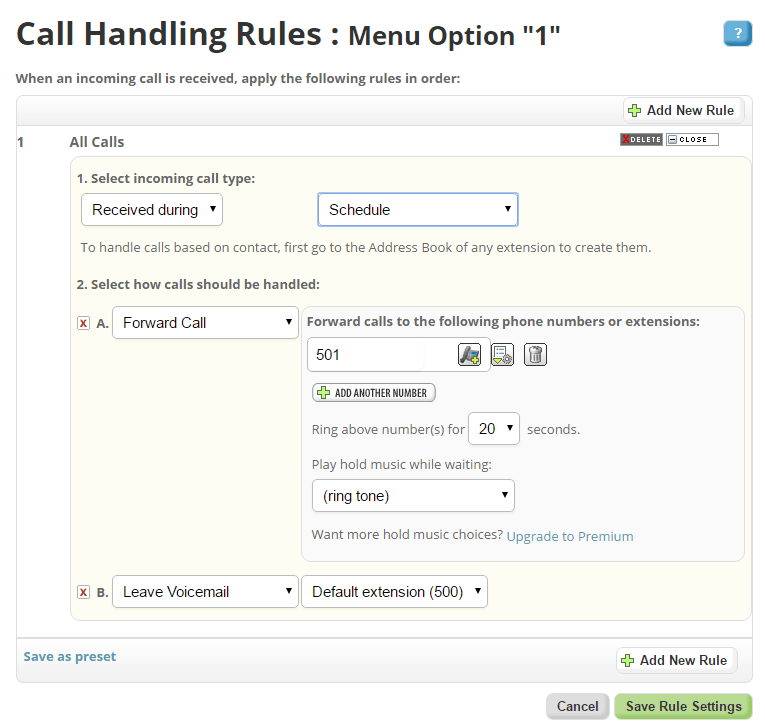 Managing Call Handling Rules in Phone.com