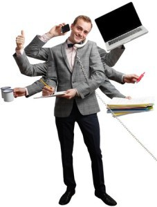 Product business man multitasking while on the phone