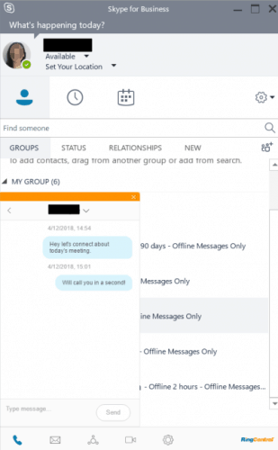 Text Messaging With RingCentral in Skype