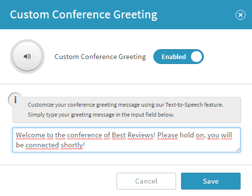 Customizing Conference Greeting