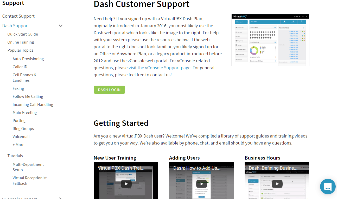 Support for VirtualPBX Dash Users