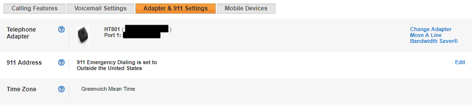 Settings Available for the Vonage Adapter