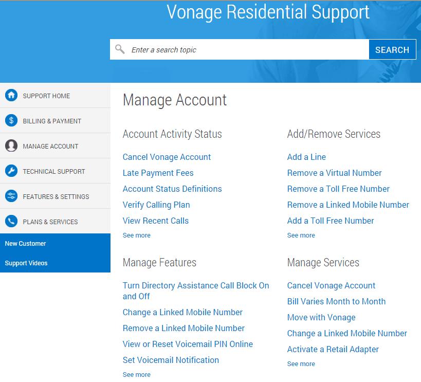 Vonage's Help Center